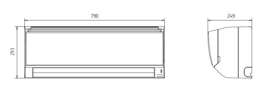 dimension air conditioner general wall mounted ashg18klca